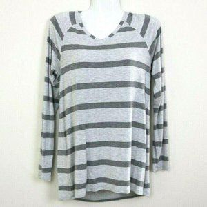 Cabi Womens Blouse Long Sleeve Striped V Neck Soft